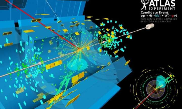 A candidate event display for the production of a Higgs boson decaying to two