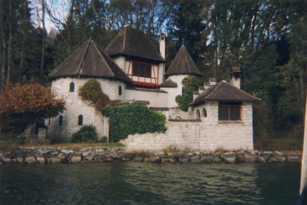 Bollingen Tower as seen from Lake Zürich.